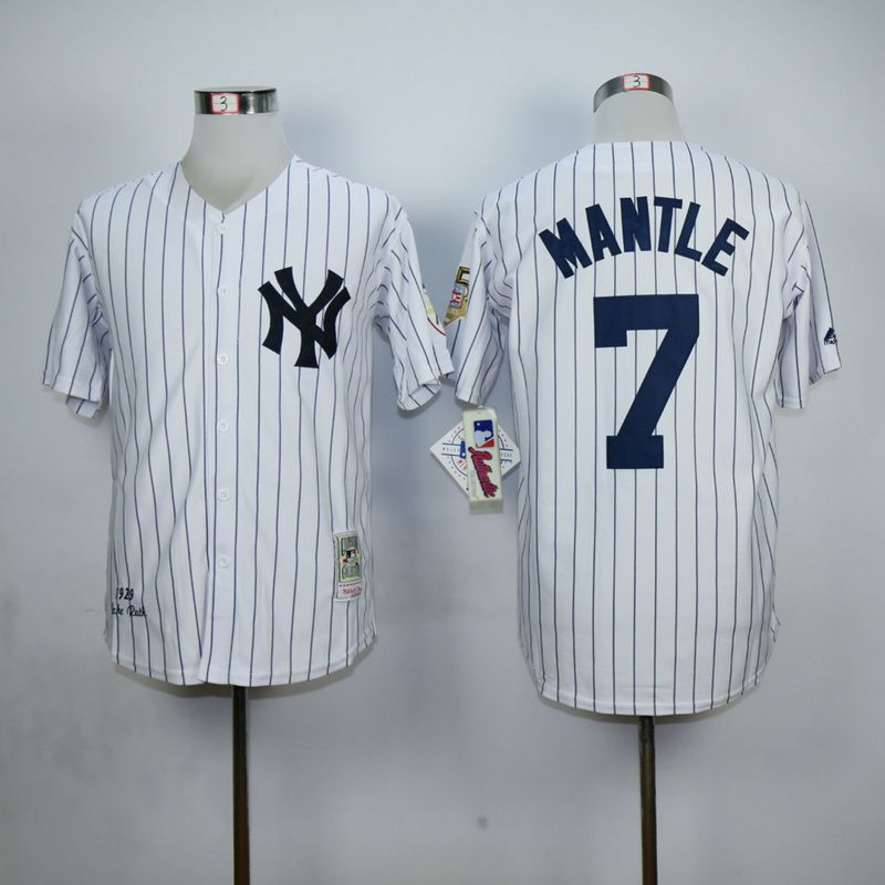 Men New York Yankees 7 Mantle White MLB Jerseys