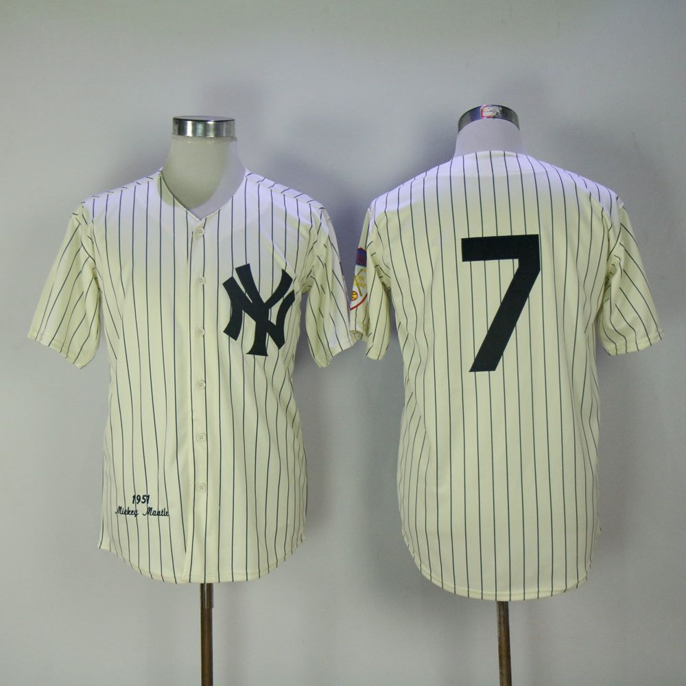 Men New York Yankees 7 No name Cream MLB Jerseys