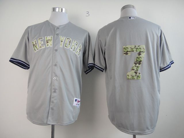 Men New York Yankees 7 No name Grey Camo MLB Jerseys