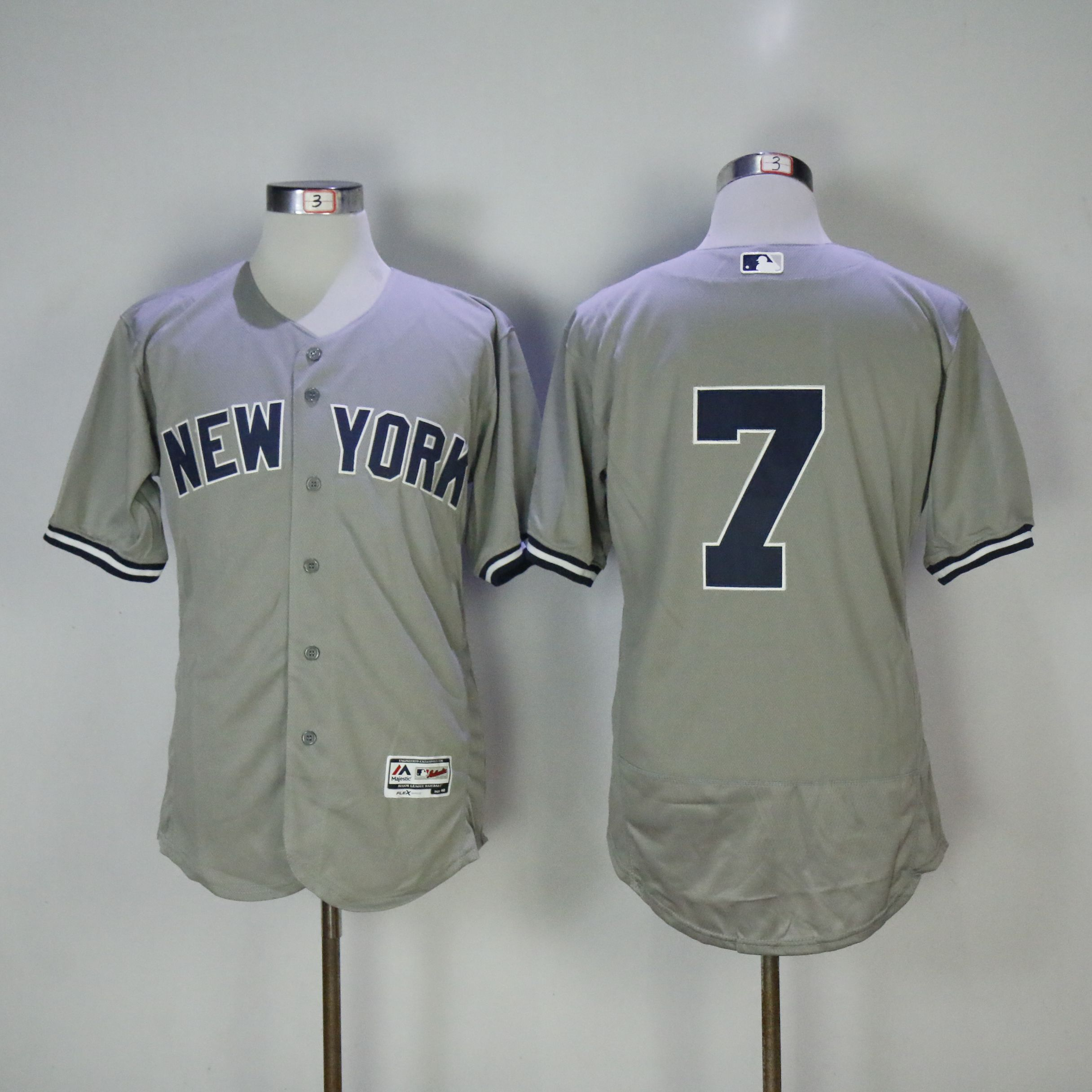 Men New York Yankees 7 No name Grey MLB Jerseys