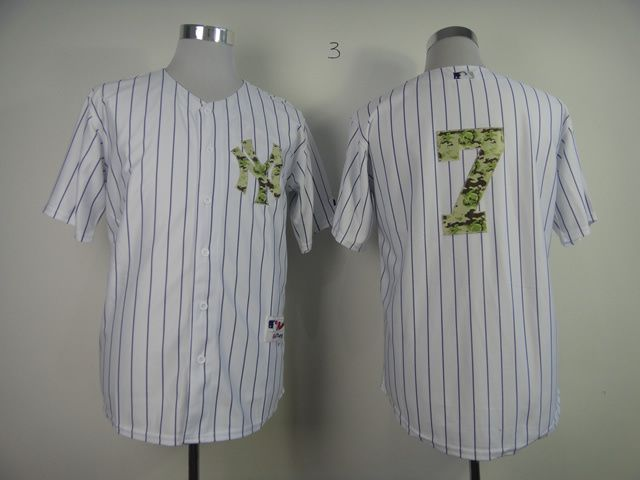 Men New York Yankees 7 No name White Camo MLB Jerseys