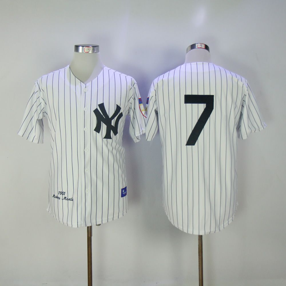 Men New York Yankees 7 No name White MLB Jerseys