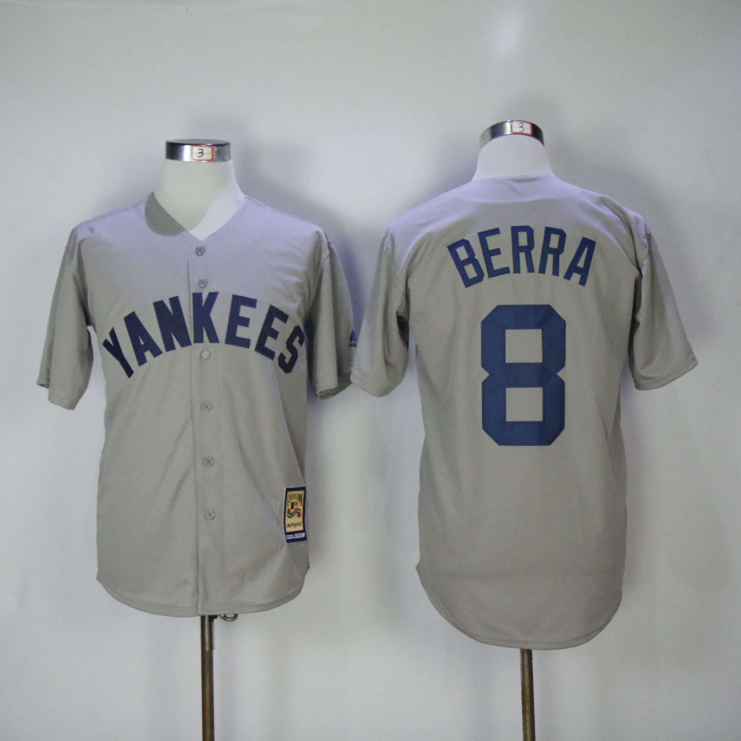 Men New York Yankees 8 Berra Grey Throwback MLB Jerseys