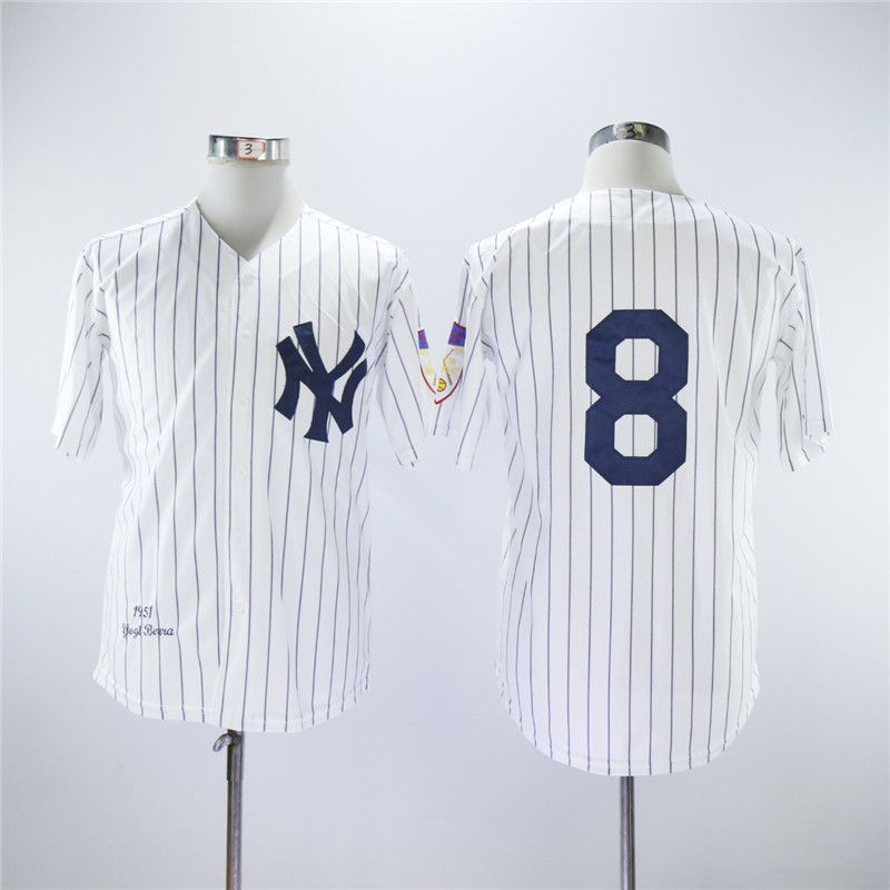 Men New York Yankees 8 No name White Throwback MLB Jerseys