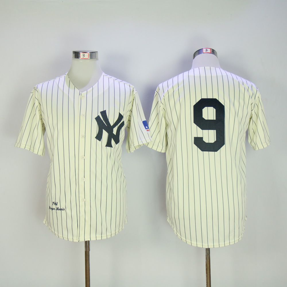 Men New York Yankees 9 No name Cream Throwback MLB Jerseys