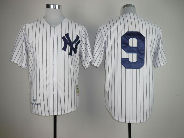 Men New York Yankees 9 No name White Throwback MLB Jerseys
