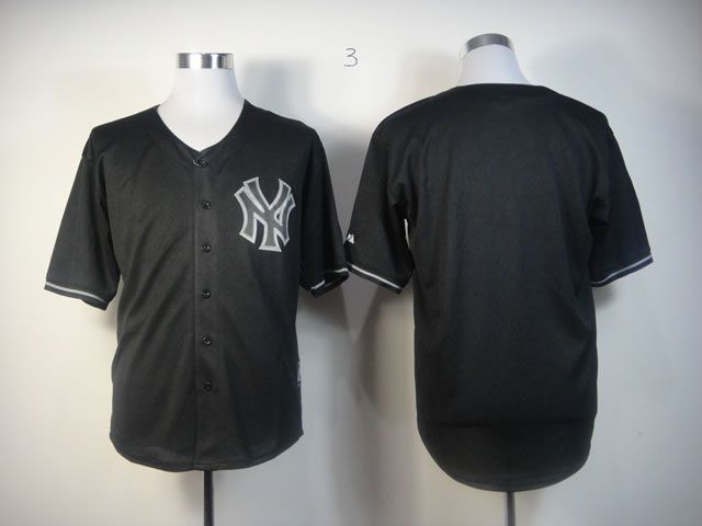 Men New York Yankees Blank Black MLB Jerseys