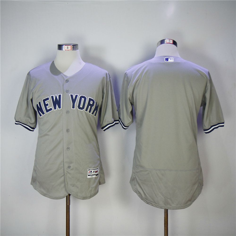 Men New York Yankees Blank Grey MLB Jerseys