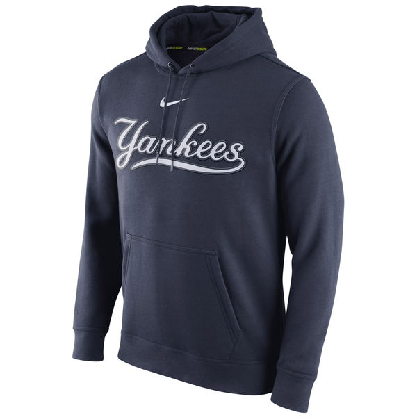 Men New York Yankees Nike Club Pullover Hoodie - Navy Blue