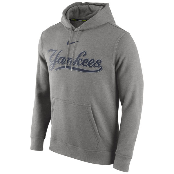 Men New York Yankees Nike Club Pullover Hoodie Gray
