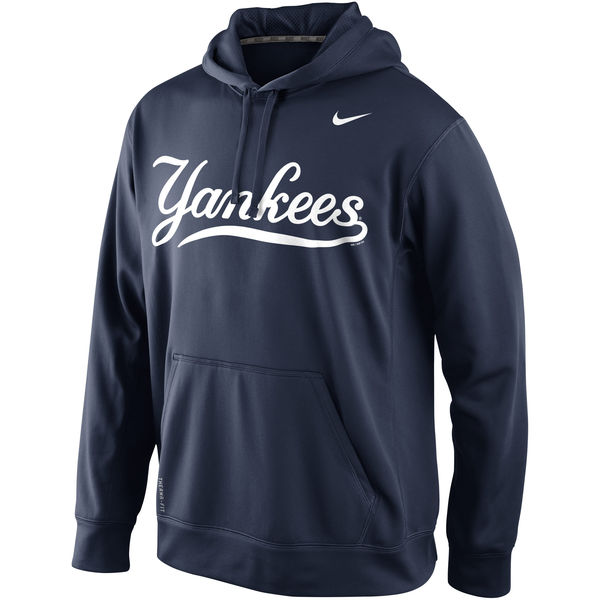 Men New York Yankees Nike KO Wordmark Perfomance Hoodie Navy