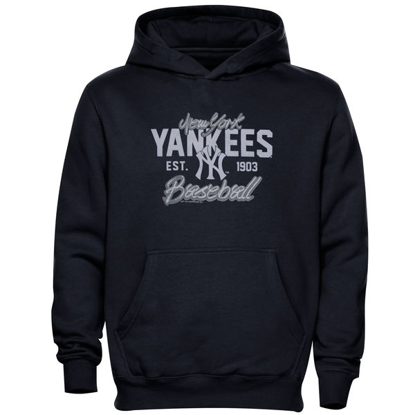 Men New York Yankees Script Baseball Pullover Hoodie Navy Blue