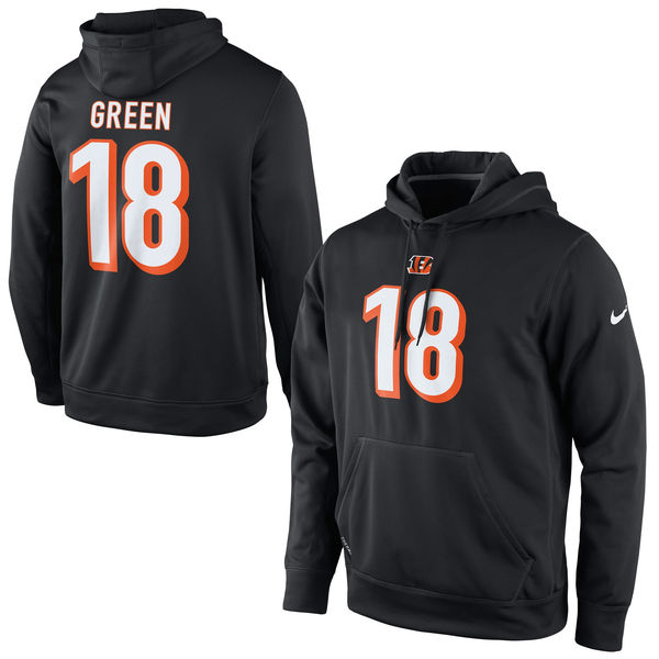 Men Nike Cincinnati Bengals 18 Green Player Pullover Performance Hoodie Black