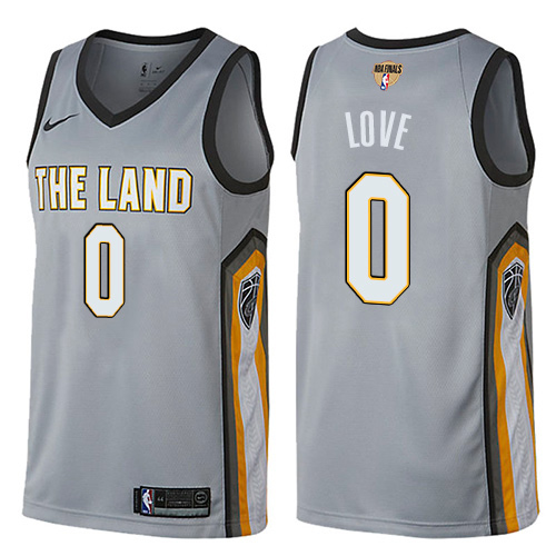 Men Nike Cleveland Cavaliers 0 Kevin Love Gray The Finals Patch NBA Swingman City Edition Jersey