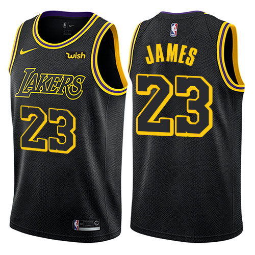 Men Nike Los Angeles Lakers 23 LeBron James Black NBA Swingman City Edition Jersey