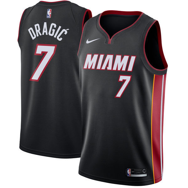 Men Nike Miami Heat 7 Goran Dragic Black NBA Swingman Icon Edition Jersey