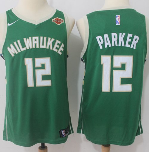 Men Nike Milwaukee Bucks 12 Jabari Parker Green NBA Swingman Icon Edition Jersey