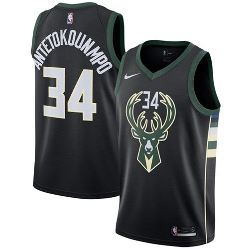 Men Nike Milwaukee Bucks 34 Giannis Antetokounmpo Black NBA Swingman Statement Edition Jersey