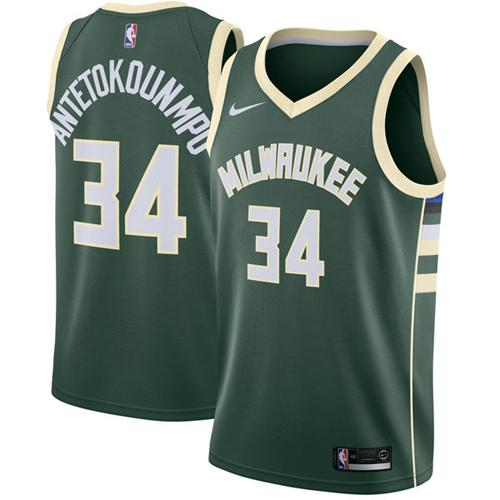 Men Nike Milwaukee Bucks 34 Giannis Antetokounmpo Green NBA Swingman Icon Edition Jersey
