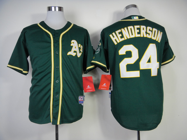 Men Oakland Athletics 24 Henderson Green MLB Jerseys1
