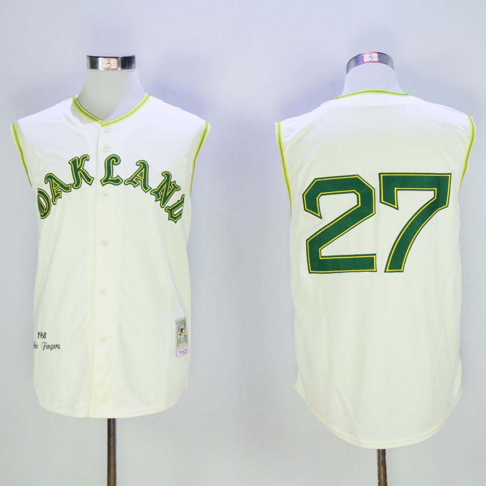 Men Oakland Athletics 27 Hunter Cream Throwback MLB Jerseys