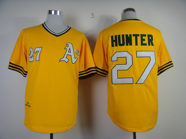 Men Oakland Athletics 27 Hunter Yellow Throwback MLB Jerseys