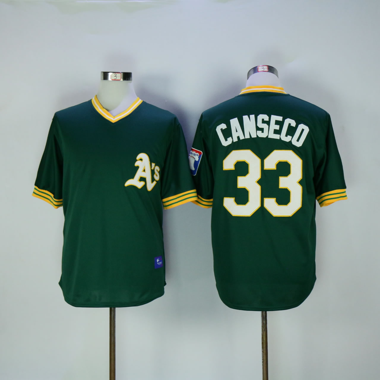 Men Oakland Athletics 33 Canseco Green Throwback MLB Jerseys