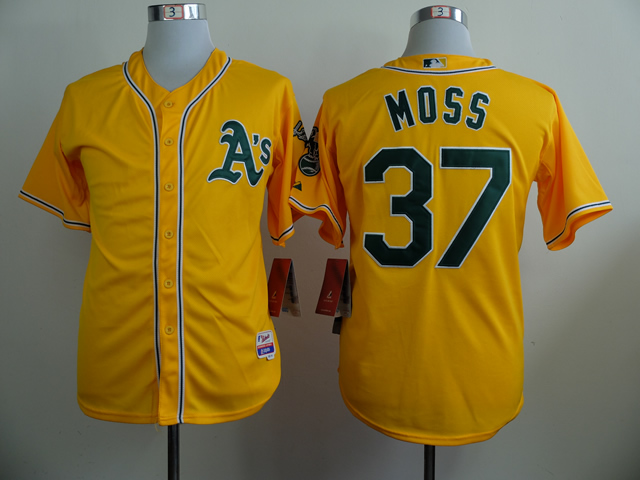 Men Oakland Athletics 37 Moss Yellow MLB Jerseys
