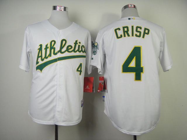 Men Oakland Athletics 4 Crisp White MLB Jerseys
