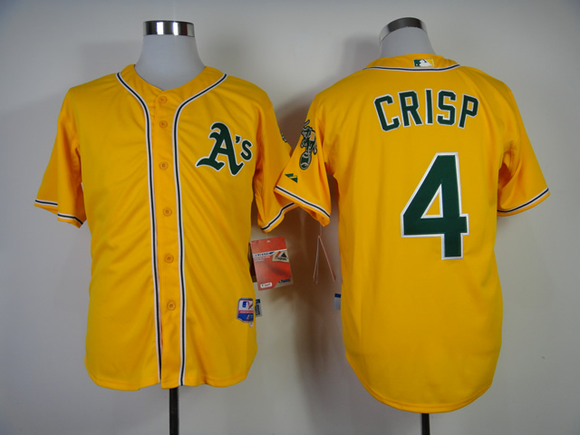 Men Oakland Athletics 4 Crisp Yellow MLB Jerseys
