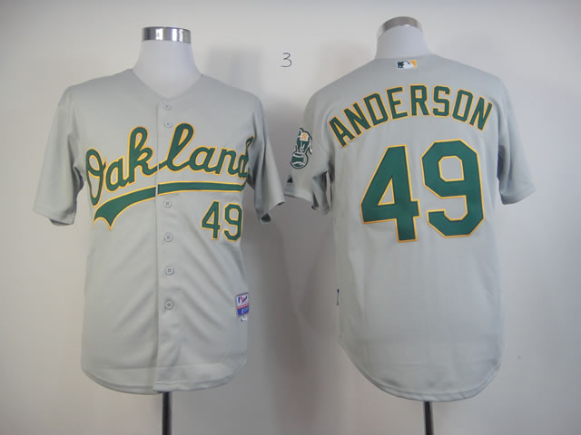 Men Oakland Athletics 49 Anderson Grey MLB Jerseys