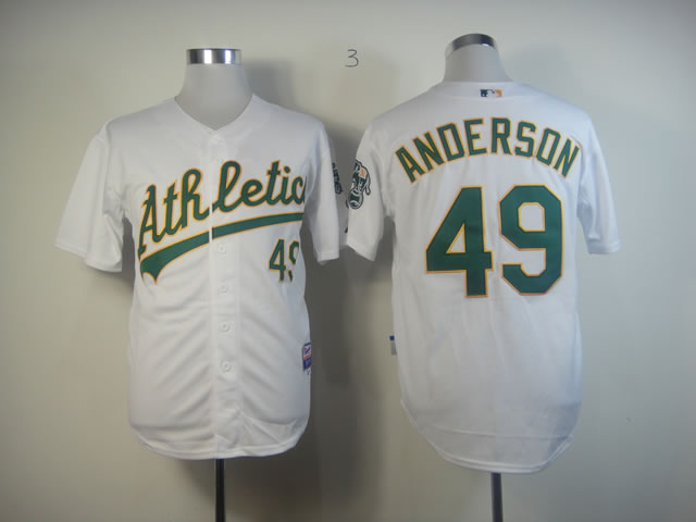 Men Oakland Athletics 49 Anderson White MLB Jerseys