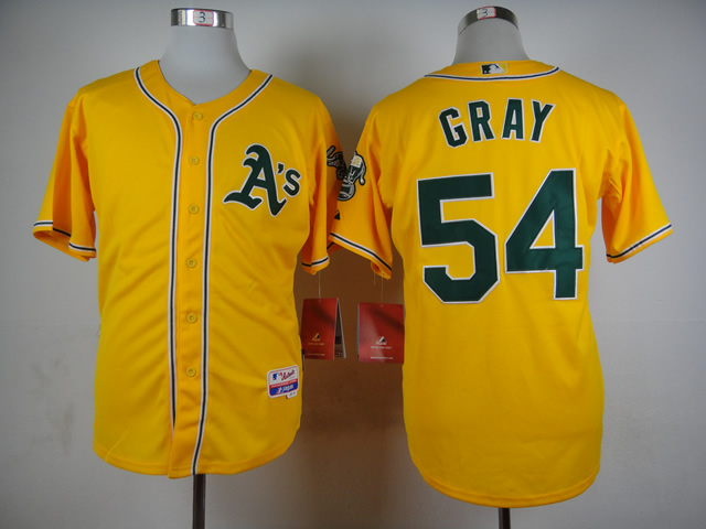Men Oakland Athletics 54 Gray Yellow MLB Jerseys