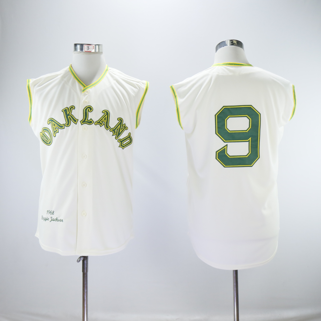 Men Oakland Athletics 9 Jackson Cream Throwback MLB Jerseys