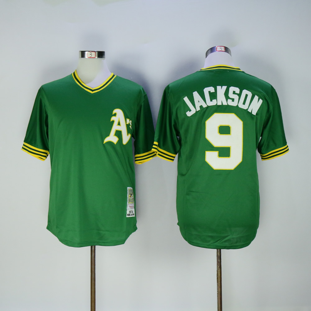 Men Oakland Athletics 9 Jackson Green Throwback MLB Jerseys