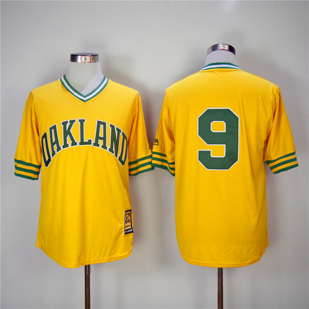 Men Oakland Athletics 9 Jackson Yellow Throwback 1981 MLB Jerseys