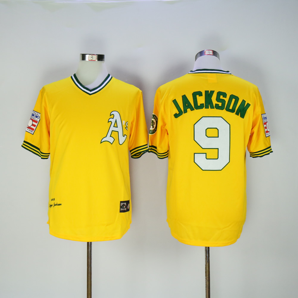 Men Oakland Athletics 9 Jackson Yellow Throwback MLB Jerseys