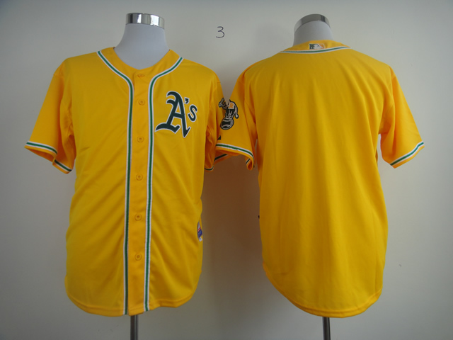 Men Oakland Athletics Blank Yellow MLB Jerseys