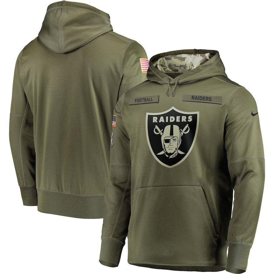 Men Oakland Raiders Nike Olive Salute To Service KO Performance Hoodie Green