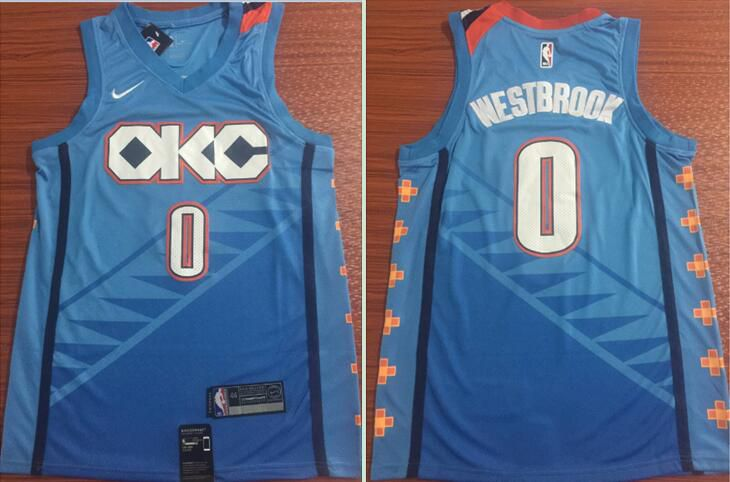 Men Oklahoma City Thunder 0 Westbrook Blue City Edition Game Nike NBA Jerseys