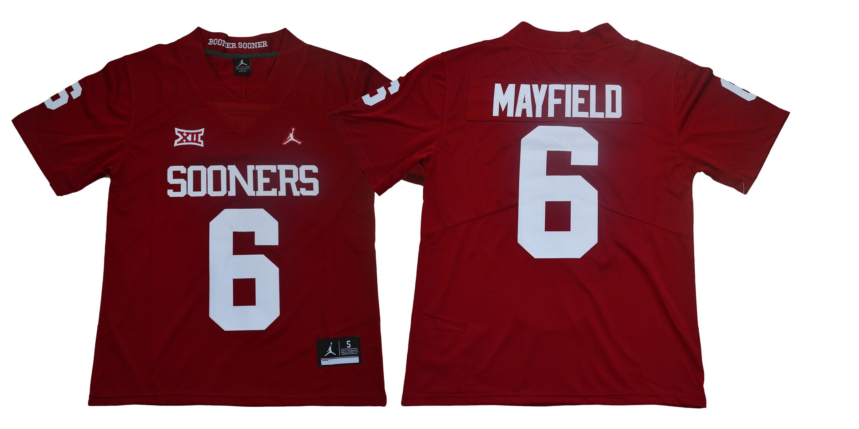 Men Oklahoma Sooners 6 Mayfield Red Jordan NCAA Jerseys