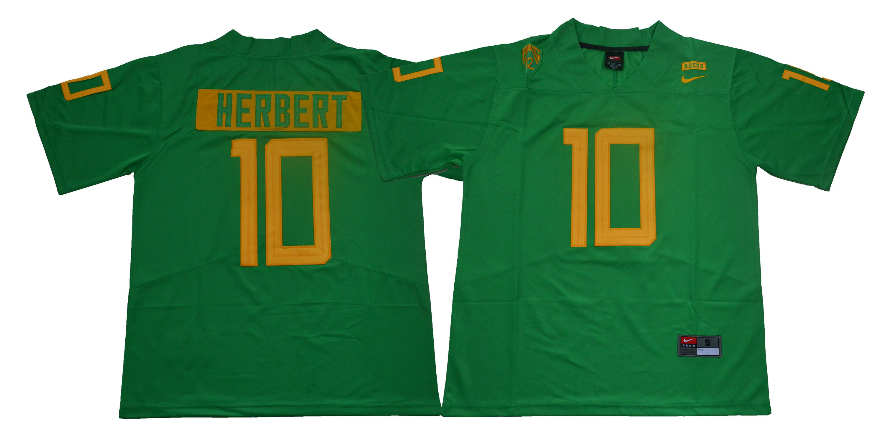 Men Oregon Ducks 10 Herbert Green Legendary Edition Nike NCAA Jerseys