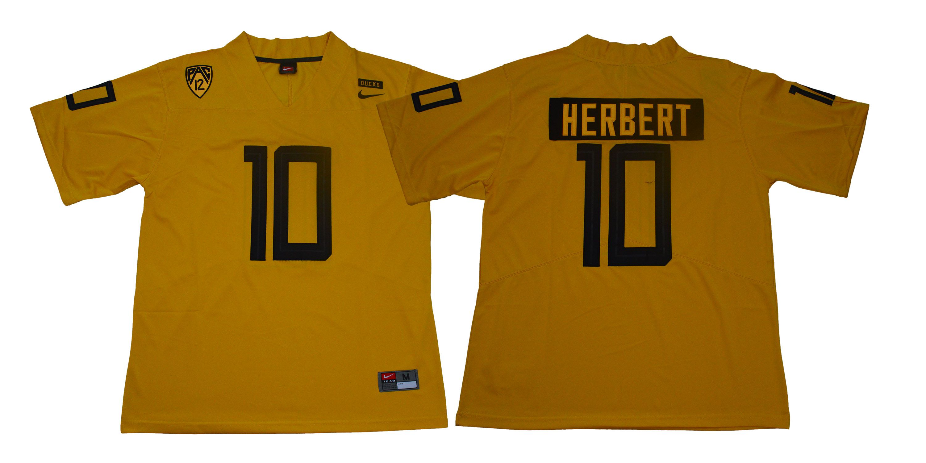 Men Oregon Ducks 10 Herbert Yellow Legendary Edition Nike NCAA Jerseys