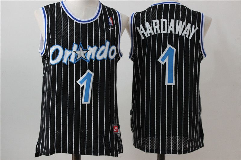 Men Orlando Magic 1 Hardaway Black Stripe Throwback NBA Jersey