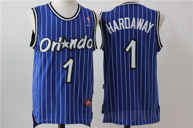 Men Orlando Magic 1 Hardaway Blue Stripe Throwback NBA Jersey