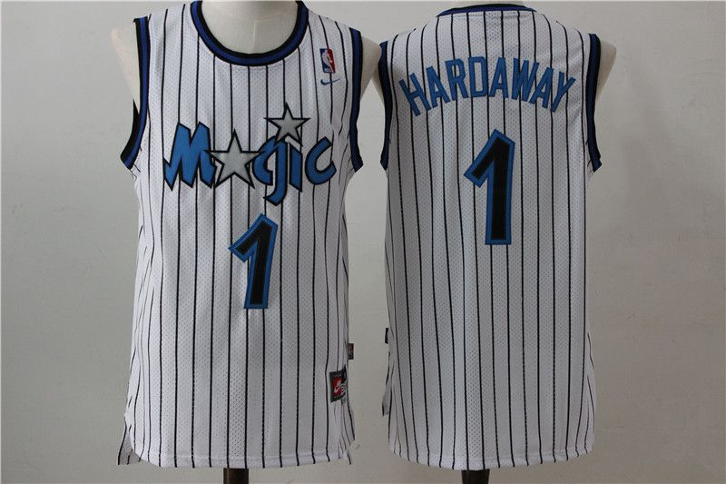 Men Orlando Magic 1 Hardaway White Stripe Throwback NBA Jersey
