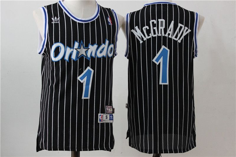 Men Orlando Magic 1 McGrady Black Stripe Throwback NBA Jersey