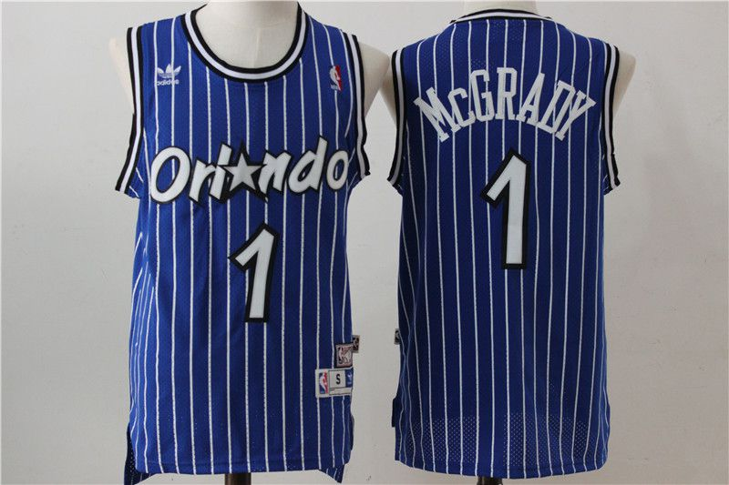 Men Orlando Magic 1 McGrady Blue Stripe Throwback NBA Jersey