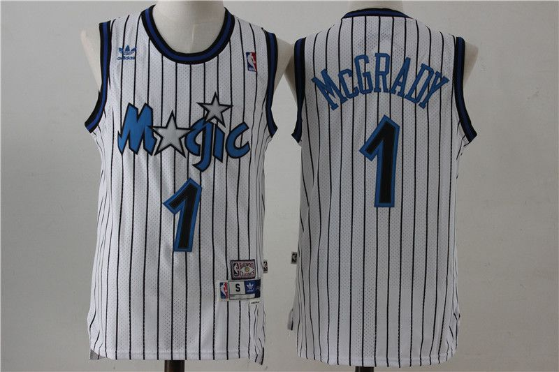 Men Orlando Magic 1 McGrady White Stripe Throwback NBA Jersey