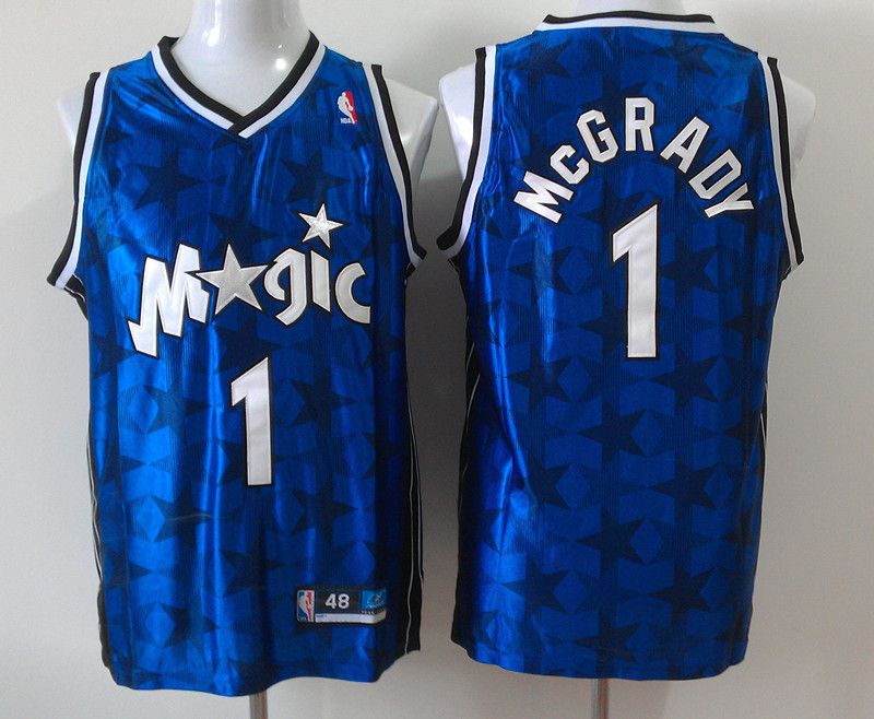 Men Orlando Magic 1 Tracy Mcgrady Blue Star Edition Stitched NBA Jersey